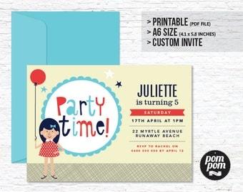 Balloon Girl Children's Birthday Invitation - PRINTABLE DIGITAL FILE