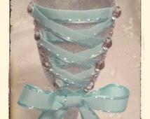Aqua and silver corset toasting flute