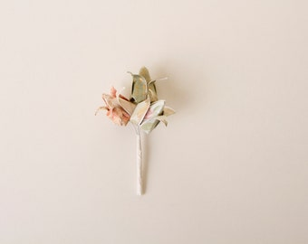Origami Tulip boutonnière, Origami flower boutonniere, wedding boutonniere
