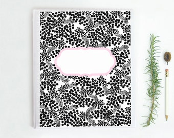 Printable Binder Cover Insert. Blank Labels. Black, Pink and White design. 8.5 x 11. High Resolution 300 dpi. Instant Download.