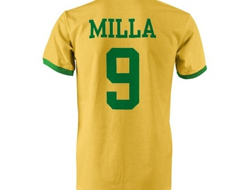 Milla 9 Cameroon Football Ringer T-Shirt Yellow/Green