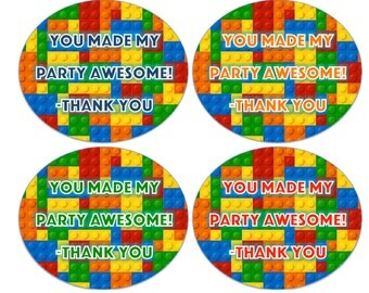 Lego Birthday Party Favor Tags Instant Download