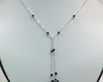 Silver lariet necklace and earring set