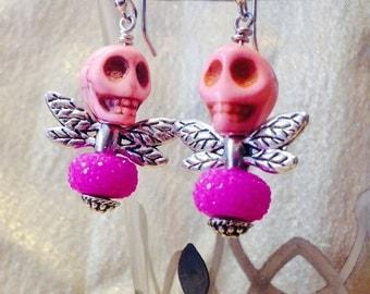 Pink Gumdrop Skull Fly Earrings, skull earrings, dragonfly earrings, gift for her, I love skulls