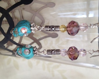 Turquoise Skull and Silver Dangle Earrings