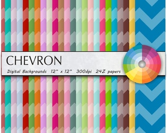 CHEVRON DIGITAL PAPER / Chevron Digital Paper/ Scrapbooking/ Invitations/ Commercial or Personal Use 24 colors