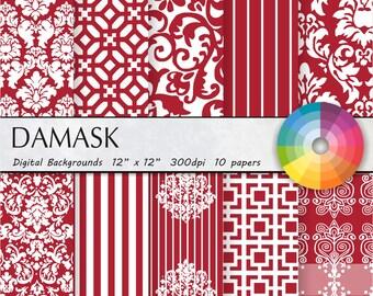 burgundy damask digital paper red digital paper red damask digital paper red damask digital paper red damask digital paper 10pk