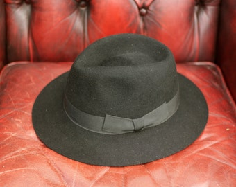 Vintage Linney Black Fur Felt Wide Brim Trilby Fedora Hat Fully Lined With Leather Band inside