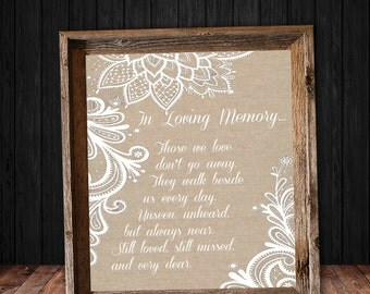 In Loving Memory Sign - Instant Download - Burlap and Lace