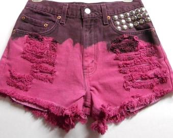 27 inch waist-----Hot pink  studded Levis  cut off denim shorts