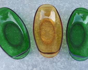 Vintage 70' lot of 3 Vereco France green, yellow glass dishes
