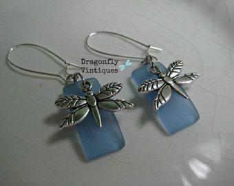 Sea Blue Dragonfly Sea Glass Earrings/21