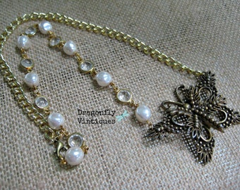 Vintage Statement Necklace,Vintage Brooch,Vintage Earrings,Vintage Beads,Repurposed,Upcycled,Reclaimed,Vintage Assemblage,Butterfly/20