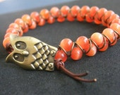 Goddess Bracelet - Red-Orange Cat's Eye Beads with Owl Button