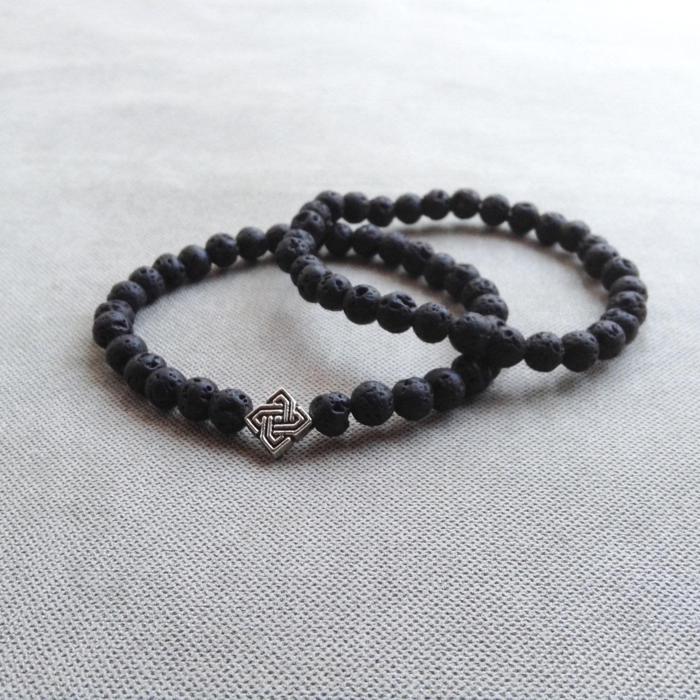8mm6mm lava bracelet with charm black beaded