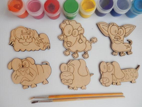6 funny dogs wood craft shapes for kids and adult. Black Bedroom Furniture Sets. Home Design Ideas