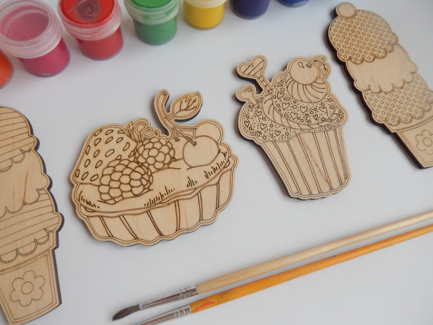 4 Cupcake And Ice Cream Wooden Shapes For Crafts Adult