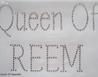 QUEEN OF REEM, Iron On / Hot Fix Rhinestone, Diamante, Transfer, Motif, Bling