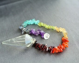Chakra Healing Pendulum / Chakra Stones w/ Clear Quartz Pendulum