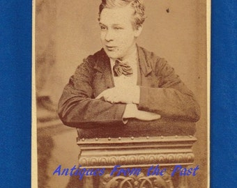 1880's CDV Carte de Visite Photo, Young Man Leaning, James Brown 8 Lower Mosley Street Manchester
