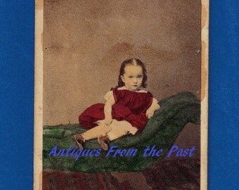 1860's CDV Carte de Visite Photo, Young Girl on Couch Hand Tinted, J. W. Miller Pittston Pennsylvania