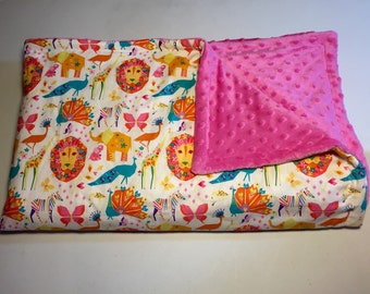Origami Pride Candy/ Toddler Blanket/ Michael Miller Fabric/ Pink Minky