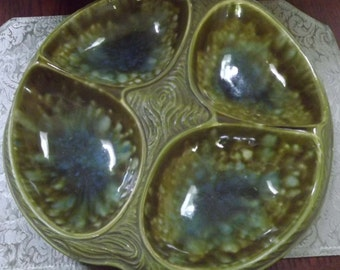 1960s Blue Green Pottery 4 Section Serving Tray