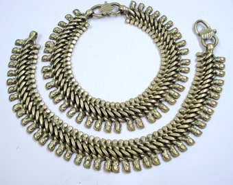 vintage Antique tribal old silver anklet feet bracelet ankle chain necklace