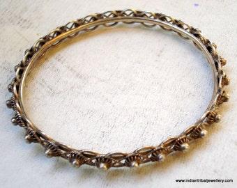 vintage antique ethnic tribal old silver bangle bracelet rahasthan india
