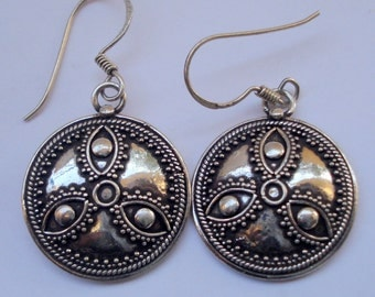 ethnic sterling silver earrings handmade jewelry traditional design