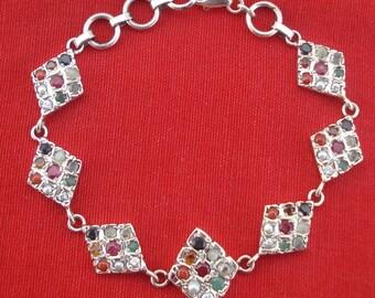 sterling silver nine gem stones bracelet navratan ethnic