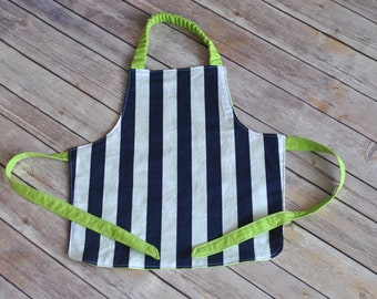 Boy apron for toddler/preschooler navy and lime