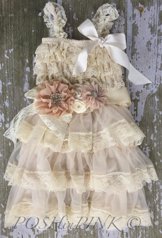 lace flower girl dress rustic flower girl dress by POSHinPINKKIDS