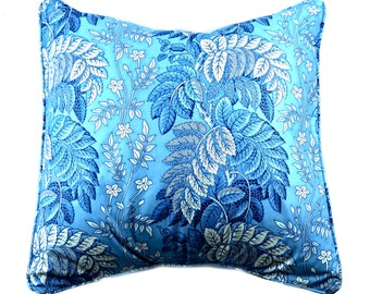 Blue Floral Throw Pillow, Decorative Pillow Cover and Insert, Sofa Cushion, Couch Pillow, Throw Pillow