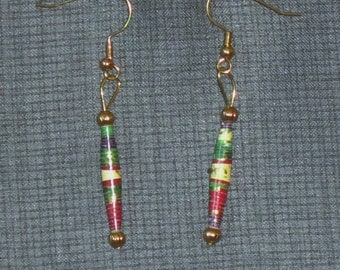 Gold, Red, and Green Earrings