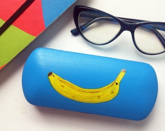 Glasses case hard - spectacle case - eyeglass cases hard - box for glasses  - hand-painted - sunglass case - banana art