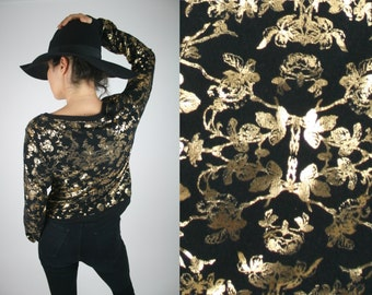 Baroque pattern black and gold sweater
