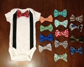 Interchangeable Bow Tie Onesie with Suspenders