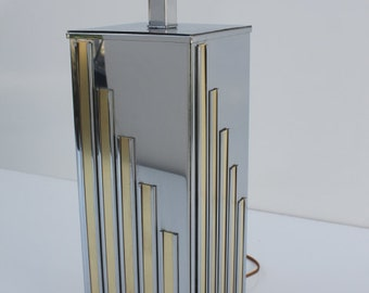 Monumental Mid Century Modern  Chrome & Brass Table Lamp