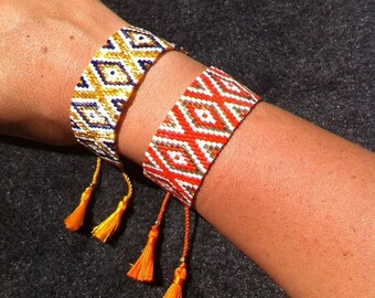 Cuff Bracelet weaved with miyuki beads.