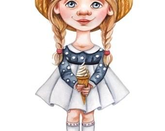 Art Print – Little girls – from Watercolour Illustration
