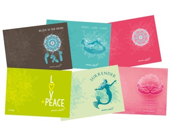 Yoga Greeting Cards / Pack of 6  / Size C6 / cards