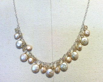 coin pearl cluster necklace