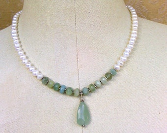 necklace with white freshwater pearls and aquamarine