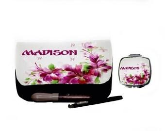 Personalized Custom Cosmetic Make up Bag & matching mirror-  Present, Birthday gifts, Bridesmaid, Wedding, flower