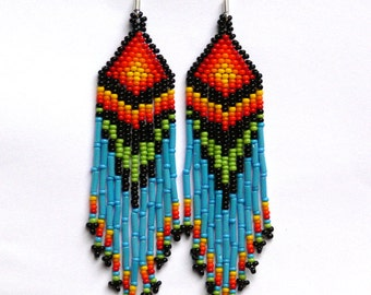 Beaded Native American Earrings Inspired. Yellow Red Orange Blue Green Black Earrings. Dange Very Long Earrings. Beadwork.