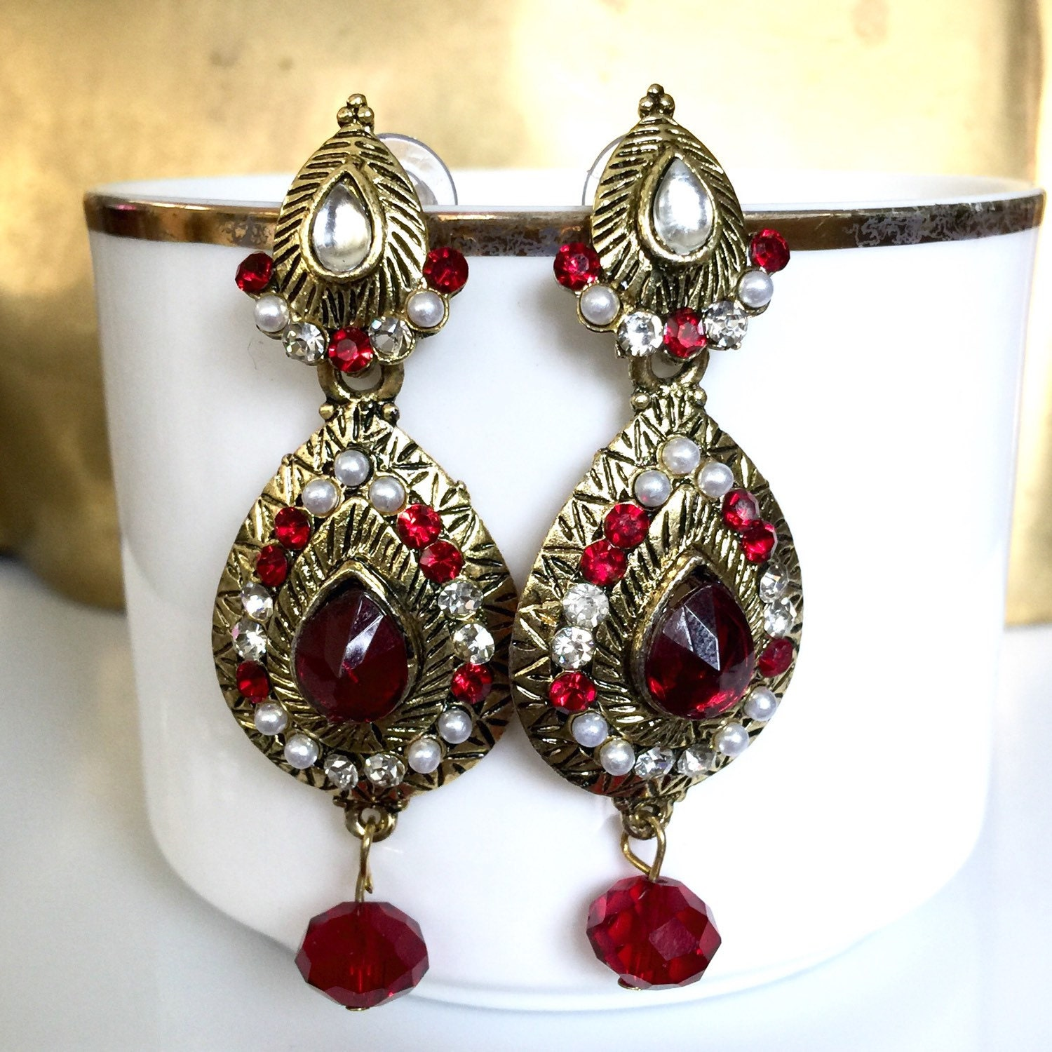 Red Givenchy Chandelier Earrings: Red Chandelier Earrings With Gold Tone Finish Rhinestones