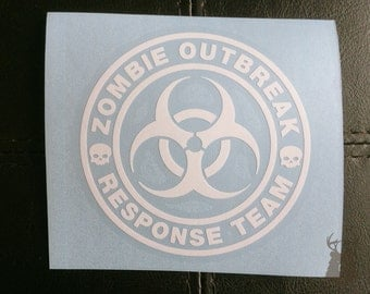 Zombie Outbreak Response Team - Vehicle Decal - Car Window Decal - Permanent Vinyl Decal - Zombie Decal  - Zombie Car Sticker