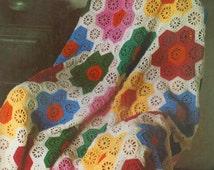 Vintage Crochet Pattern to make an Hexagonal Flower Motif Afghan Rug Blanket Throw by PDF Immediate Digital Download
