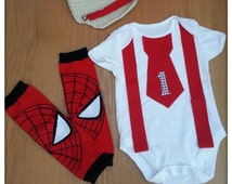 SALE ** 3 pc baby boy 1st birthday outfit, Cake smash/child Photography Prop, Red Spider man outfit, Birthday tie and suspenders